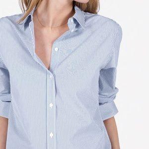 Loft Vertical Striped Button Front Collared Shirt